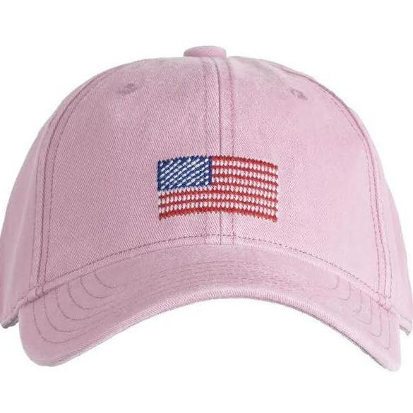 Kids Needlepoint Baseball Hat - American Flag - Pink