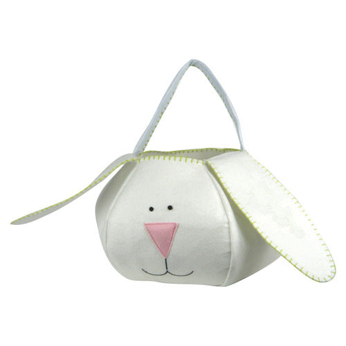 Loppy Eared Easter Bunny Basket White