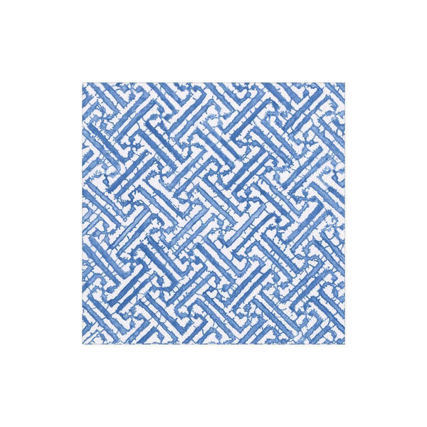 Blue Fretwork Paper Cocktail Napkin