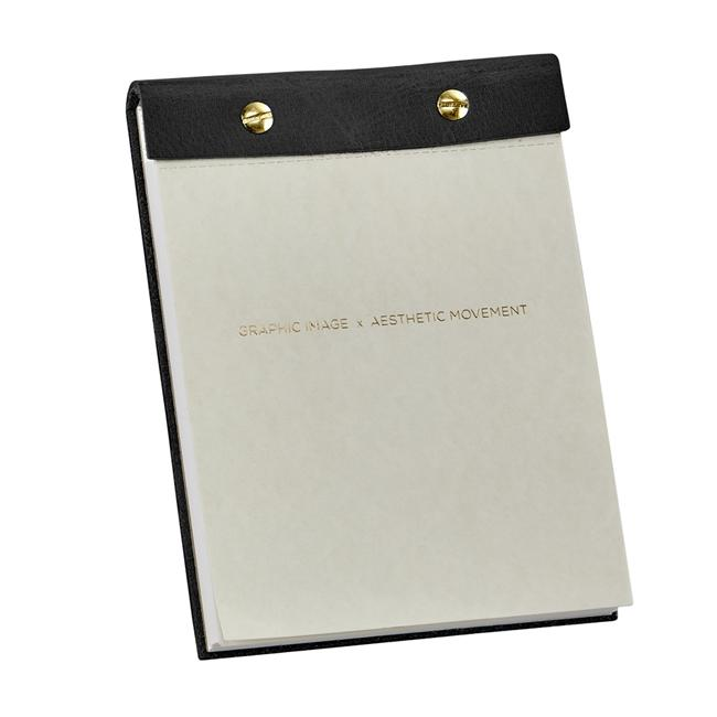 Desk Notepad with leather cover - black