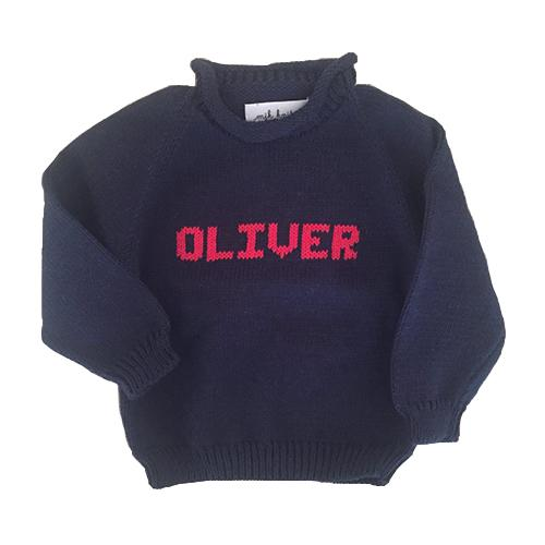 Hand Knit Rollneck Name Sweater - Personalized - Navy