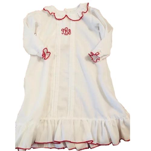 Monogrammed White with Red Trim Nightgown