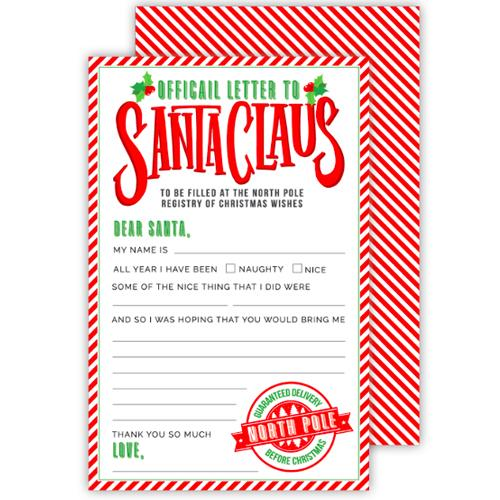 Fill in the Blank Official Letter to Santa