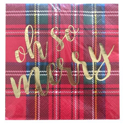 Oh So Merry Christmas Tartan Paper Cocktail Napkins