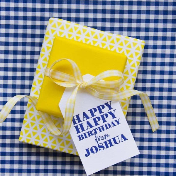Happy Happy Birthday Letterpress Gift Tags - Personalized