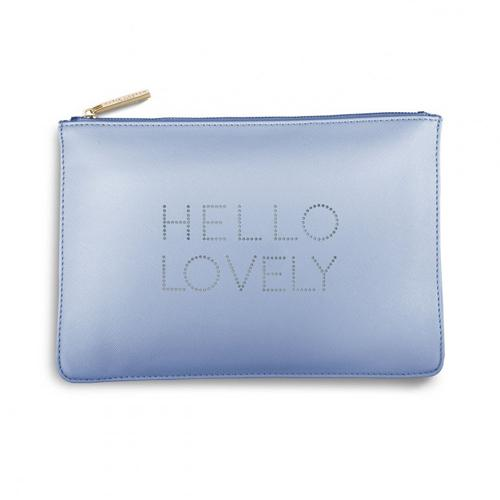 Hello Lovely on Blue Perfect Pouch / Clutch