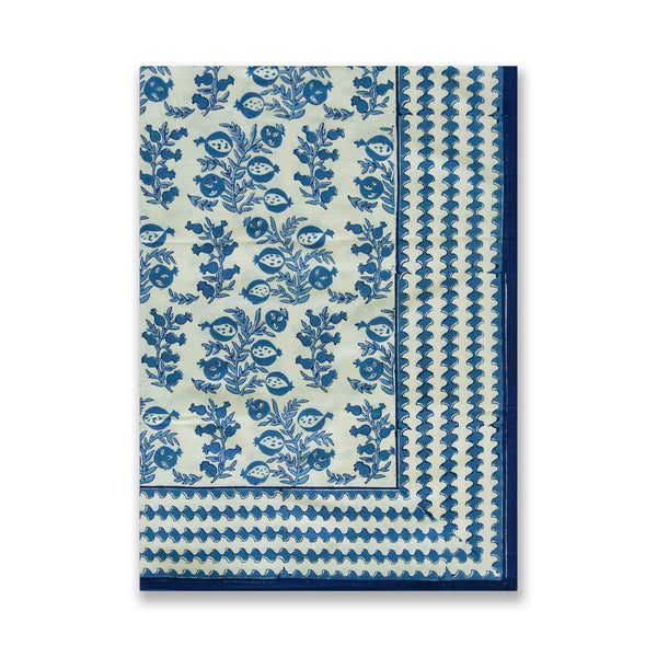 Blue Melograno Vine Block Print Tablecloth