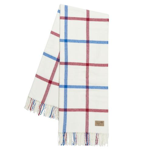 Plaid Throw Blanket - Monogram or Personalize - Red and Marina Tattersall Plaid