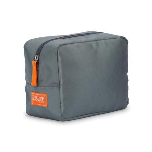 Nylon Dopp Kit - Gray with Orange - Personalize