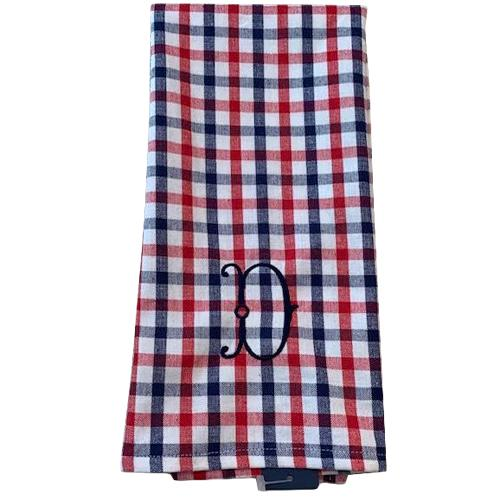 Monogrammed Red, White & Blue Plaid Hand Towel
