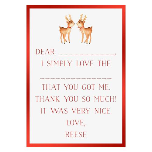 Holiday Fill in the Blank Thank You Cards - Reindeer