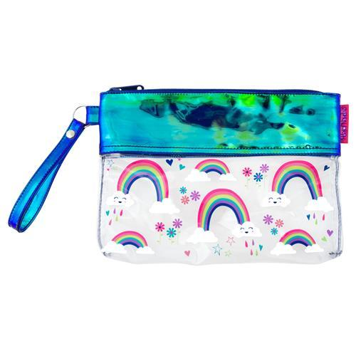 Personalized Girls Wristlet - Clear with Rainbows