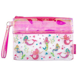Personalized Girls Wristlet - Clear with Mermaids