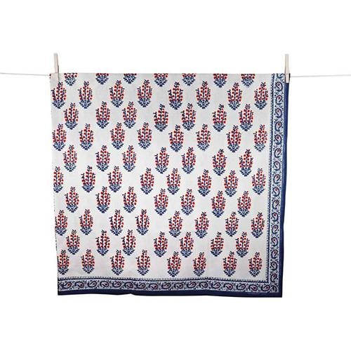 Red & Blue Flower Block Print Tablecloth