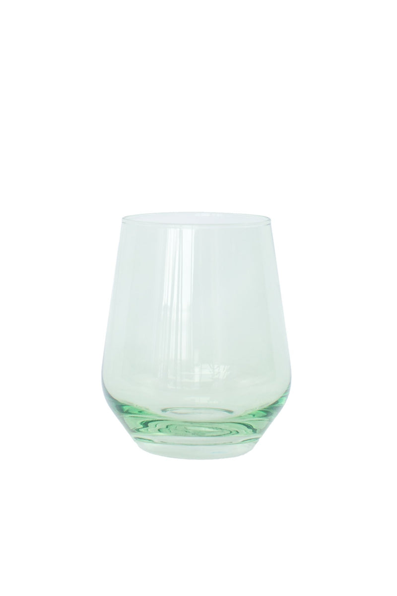 Estelle Colored Stemless Wine Glasses - Mint Green
