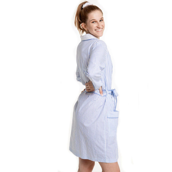 Striped Bathrobe - Blue Stripe - Monogram