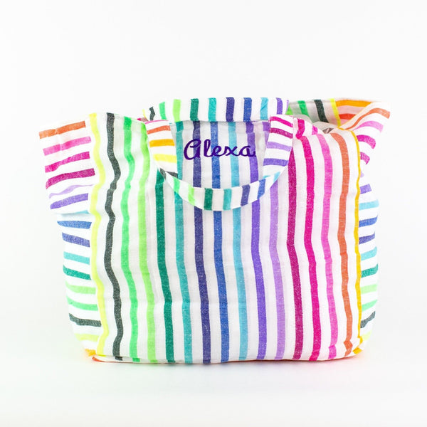 Striped Beach Bag - Monogrammed or Personalized