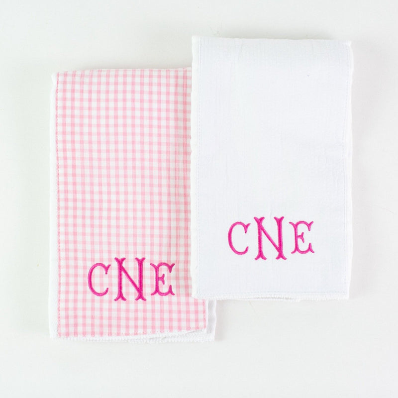 Monogrammed Burp Pad Set - Pink Checked and White