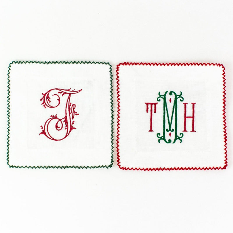 Christmas monogrammed ric rac cocktail napkins