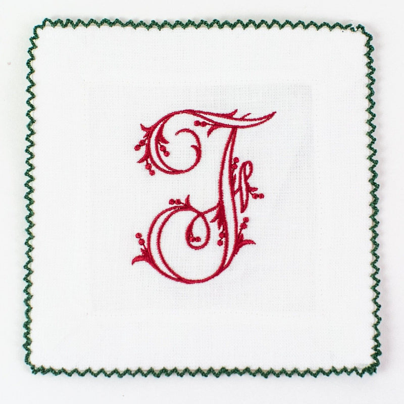 Monogrammed White with Green Ric Rac Linen Cocktail Squares