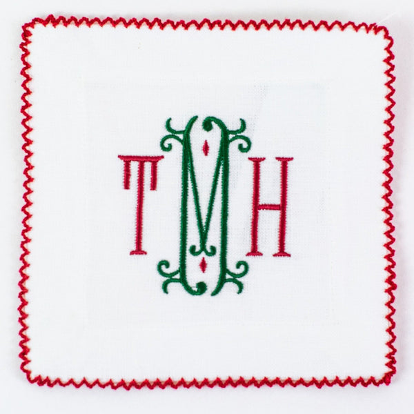 Monogrammed White with Red Ric Rac Linen Cocktail Squares