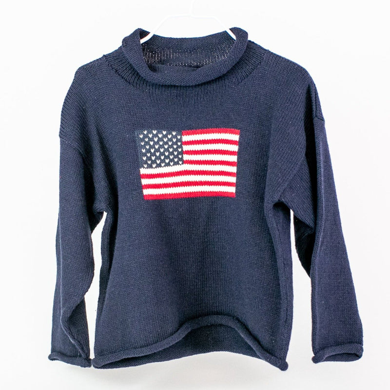 American Flag Rollneck Sweater - Navy - Monogrammable