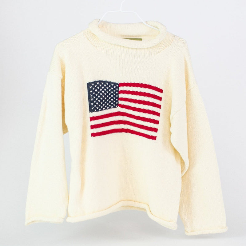 American Flag Rollneck Sweater - White - Monogrammable