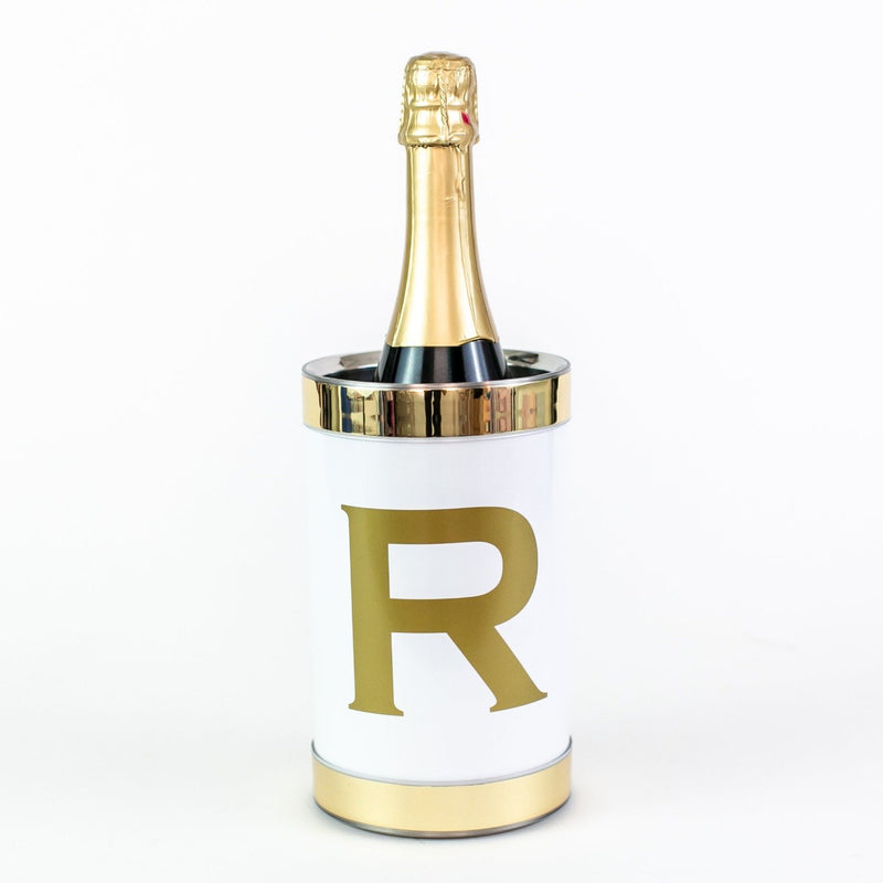 Personalized Wine Chiller with Gold Trim - White