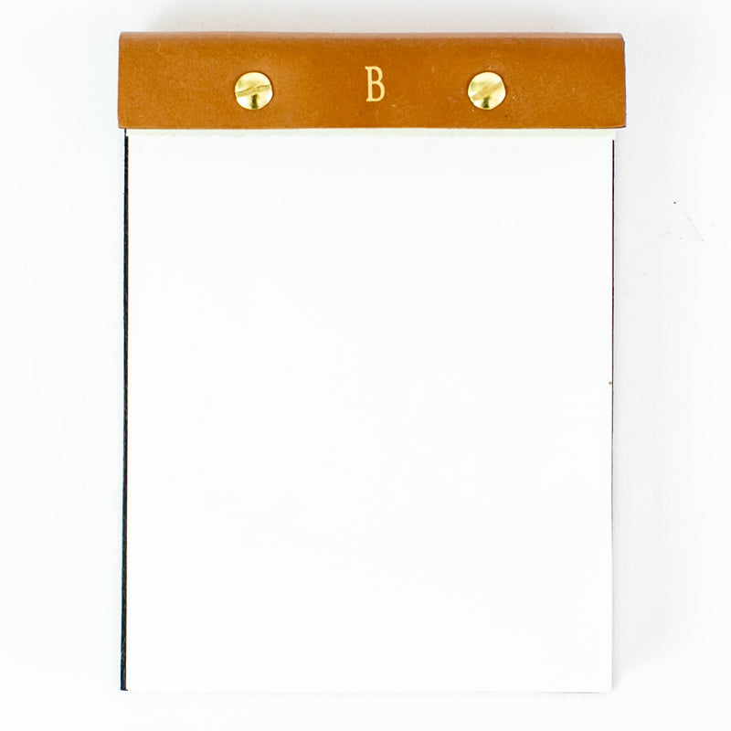 Desk Notepad with leather cover - tan
