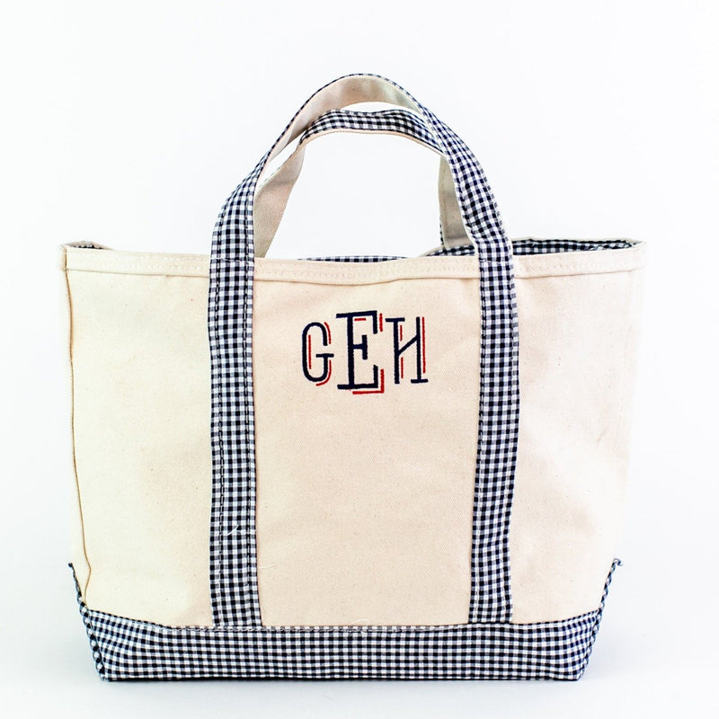Gingham Medium Canvas Boat Tote