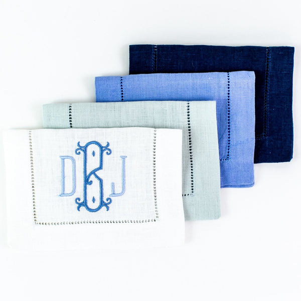 Monogrammed Festival Rectangular Linen Cocktail Napkins