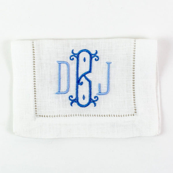 Monogrammed Festival Rectangular Linen Cocktail Napkins - White