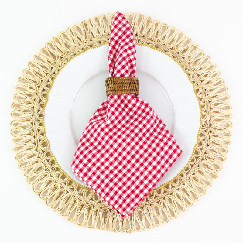 Gingham Dinner Napkins - Red