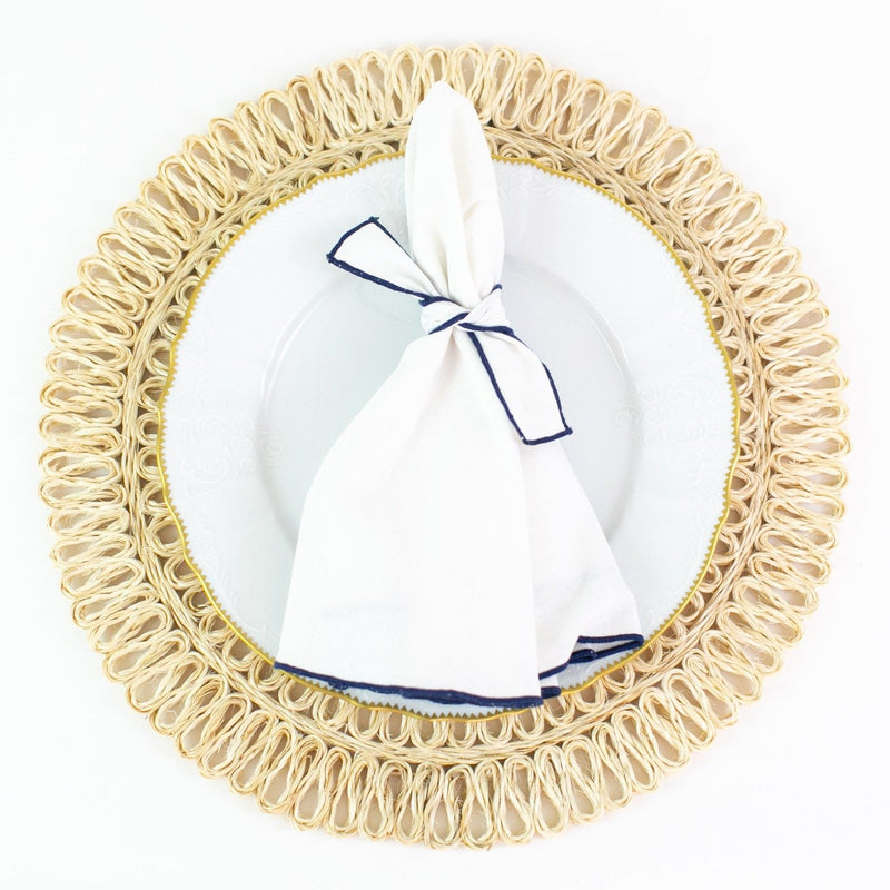 Round Dinner Napkins - Monogrammed - Navy Trim