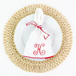 Round Dinner Napkins - Monogrammed - Red Trim