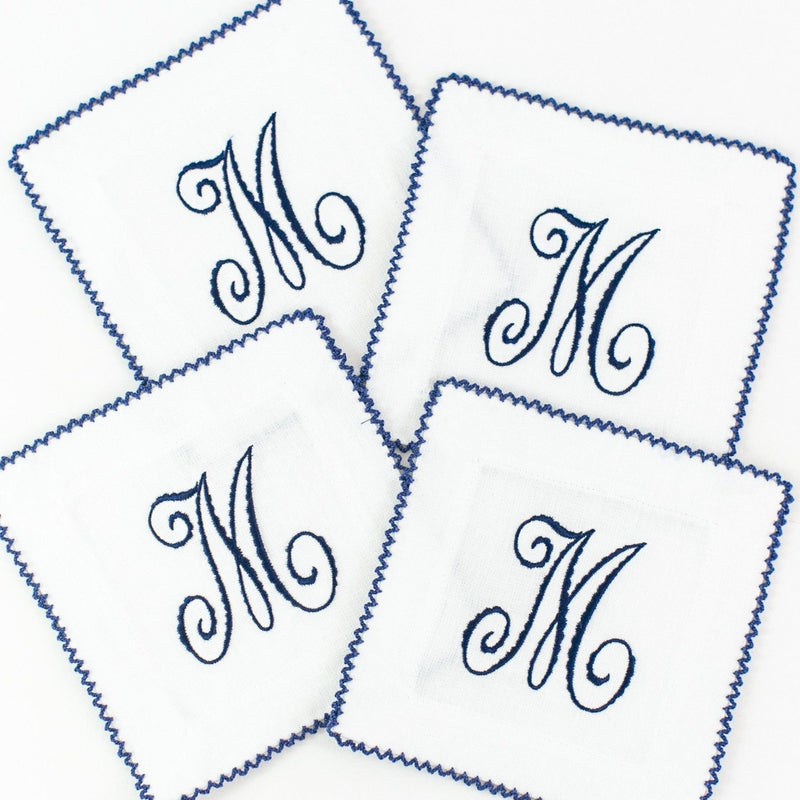 Blue monogrammed ric rac cocktail napkins
