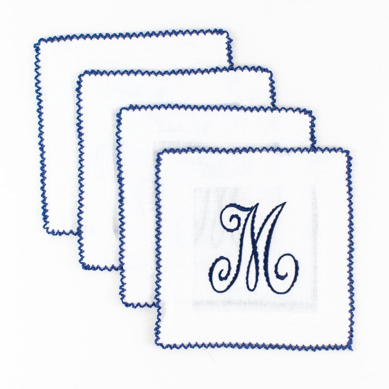 Monogrammed White with Blue Ric Rac Linen Cocktail Squares
