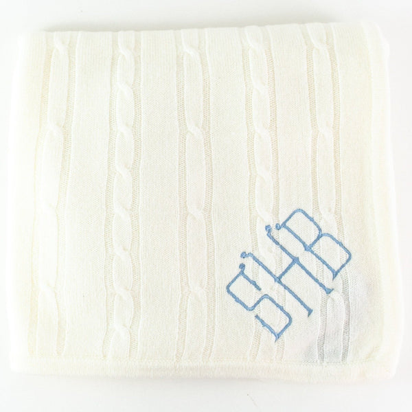 Cashmere-like Cable Knit Baby Blanket - Monogrammed - Cream