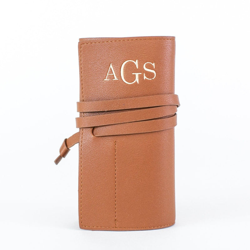 Vegan Leather Power Bank Roll - Personalized - Brown