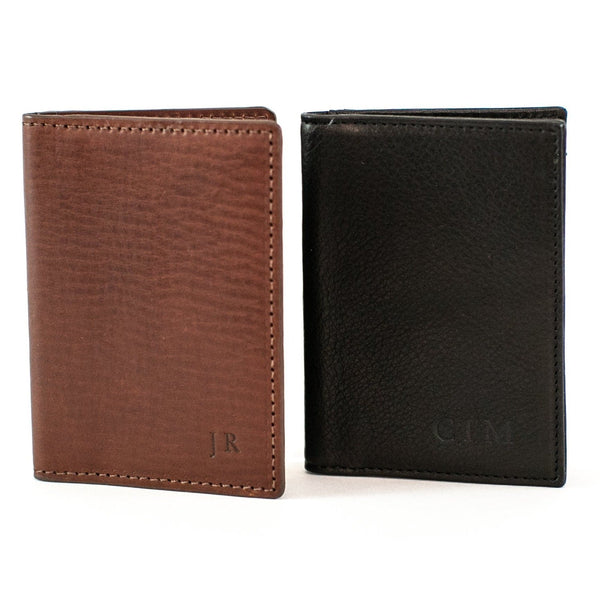 Vachetta Leather Card Case ID Holder - Brown and Black