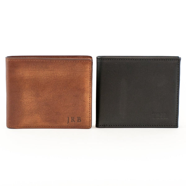 Vachetta Leather Bi-Fold Wallet - Brown or Black - with Monogram