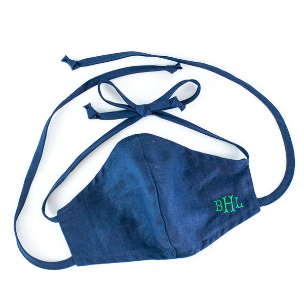 Linen Face Mask, Adult, Ties, Double Layer, Navy, Monogrammed