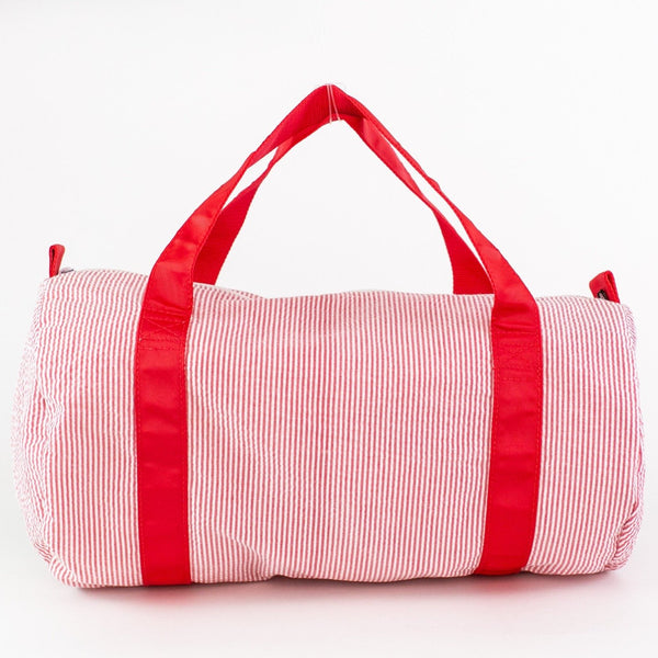 Personalized Children's Duffle Bag - Red Seersucker