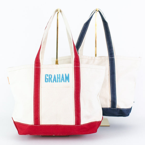 Medium Boat Tote - Red and Navy