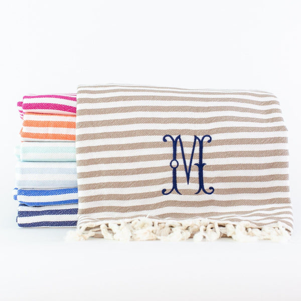 Candy Stripe Turkish Beach Towel - Assorted Colors - Monogrammed