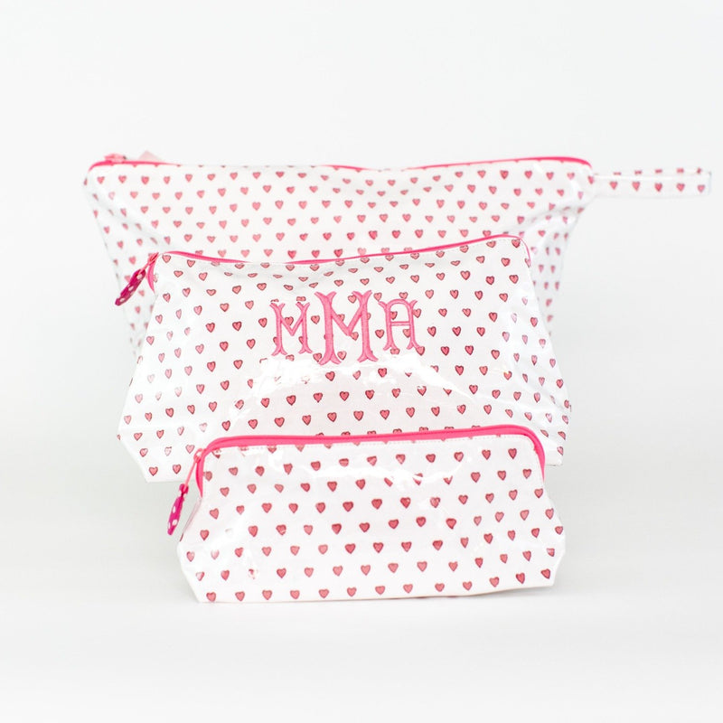Pink Hearts Coated Makeup and Toiletry Case - Monogram or Personalize