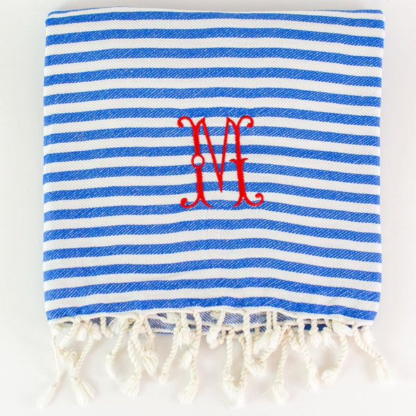 Candy Stripe Turkish Beach Towel - Blueberry - Monogrammed