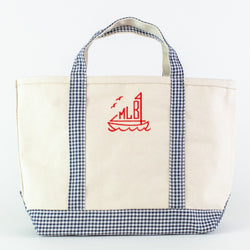 Gingham Medium Canvas Boat Tote - Navy