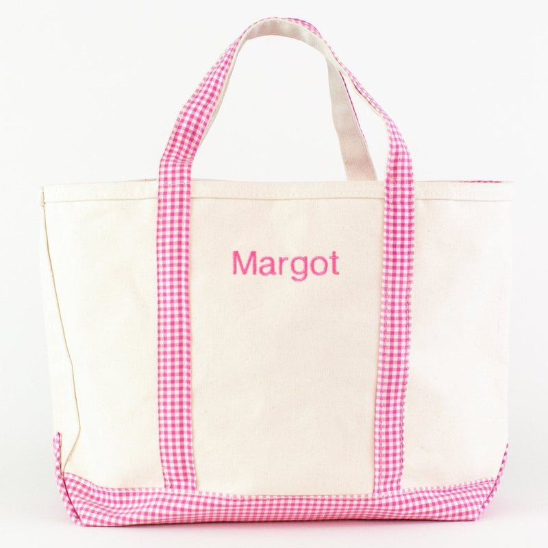 Monogrammed Gingham Medium Canvas Boat Tote - Pink