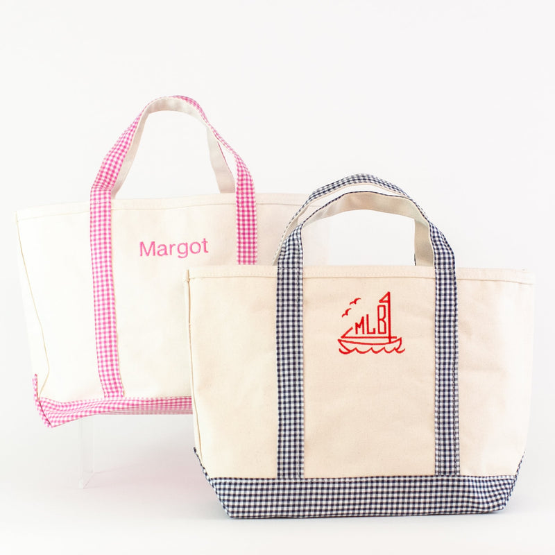 Gingham Medium Canvas Boat Tote - Navy and Pink